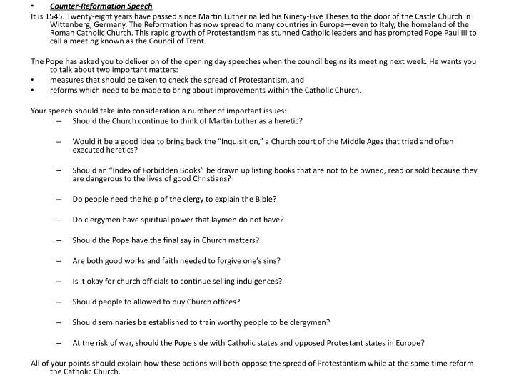 Counter-Reformation Speech