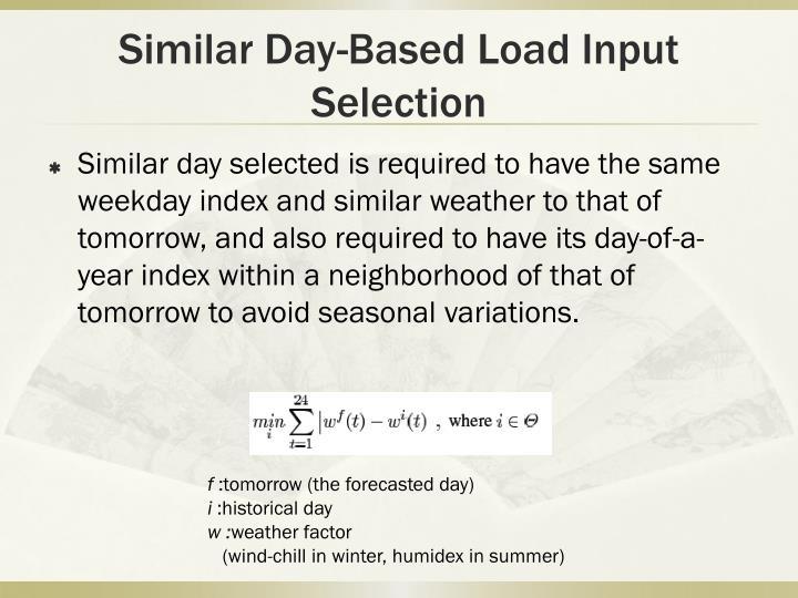Similar Day-Based Load Input Selection