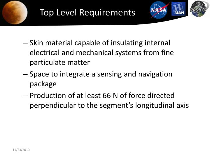 Top Level Requirements