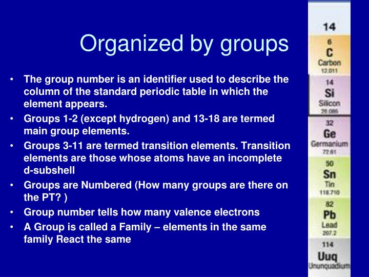 Organized by groups