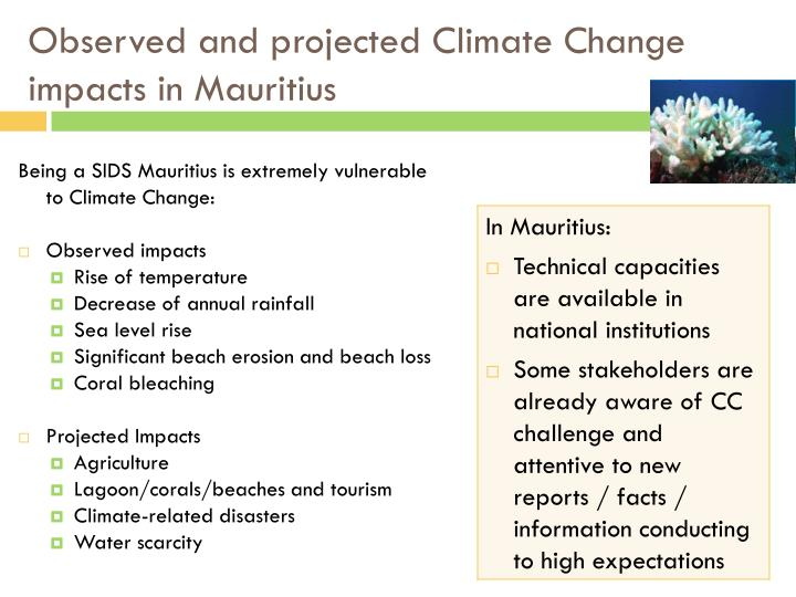 Observed and projected climate change impacts in mauritius