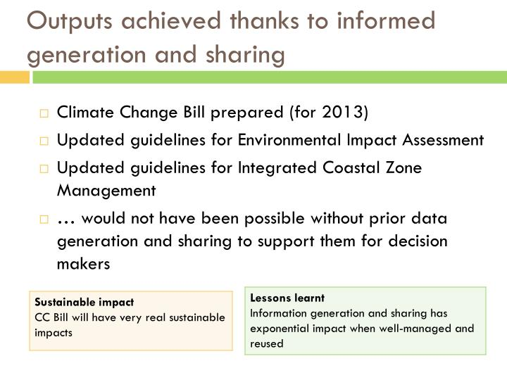 Outputs achieved thanks to informed generation and sharing