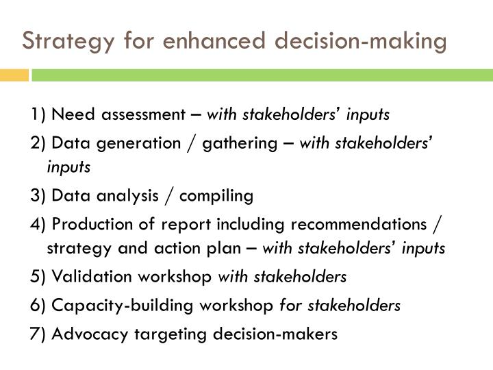 Strategy for enhanced decision-making