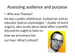 assessing audience and purpose