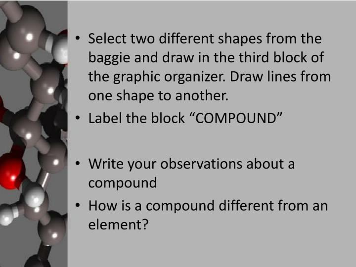 Select two different shapes from the baggie and draw in the third block of the graphic organizer. Draw lines from one shape to another.