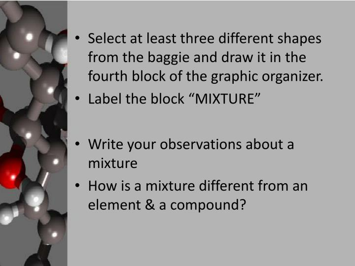 Select at least three different shapes from the baggie and draw it in the fourth block of the graphic organizer.