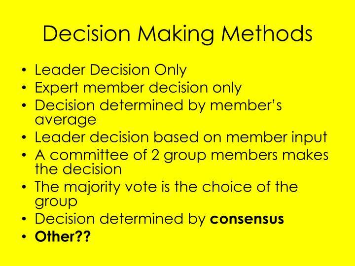 Decision making methods