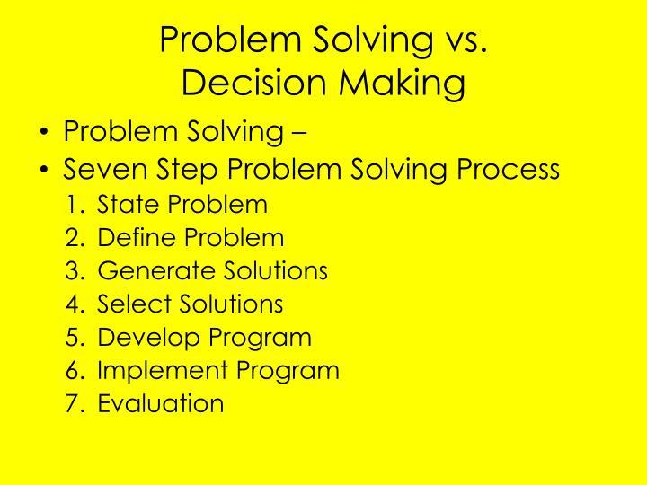 Problem Solving vs.