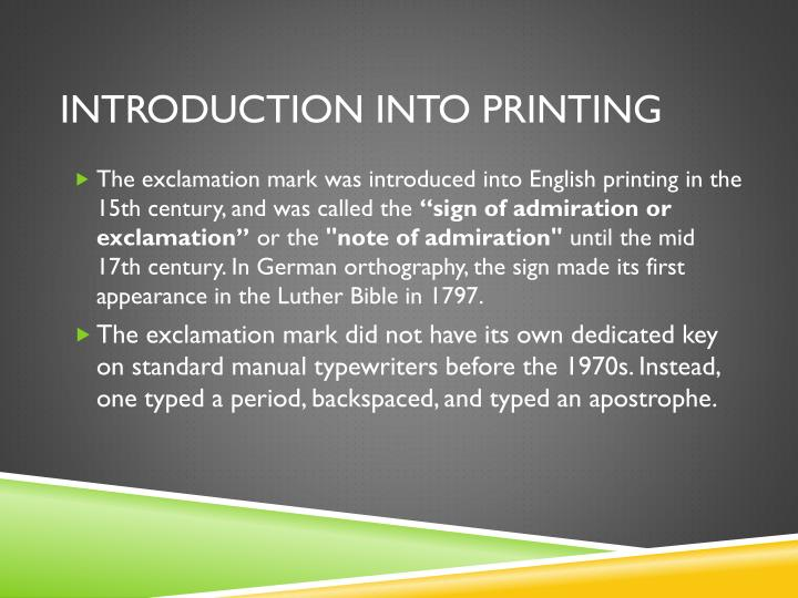 Introduction into printing