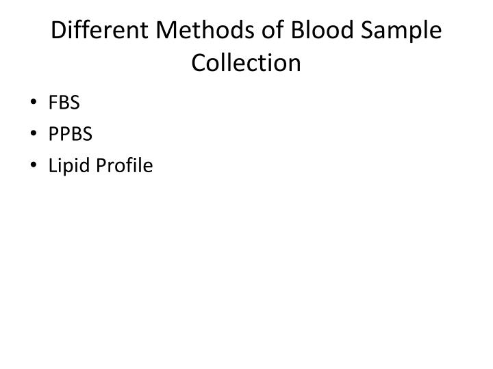 different methods of blood sample collection n.