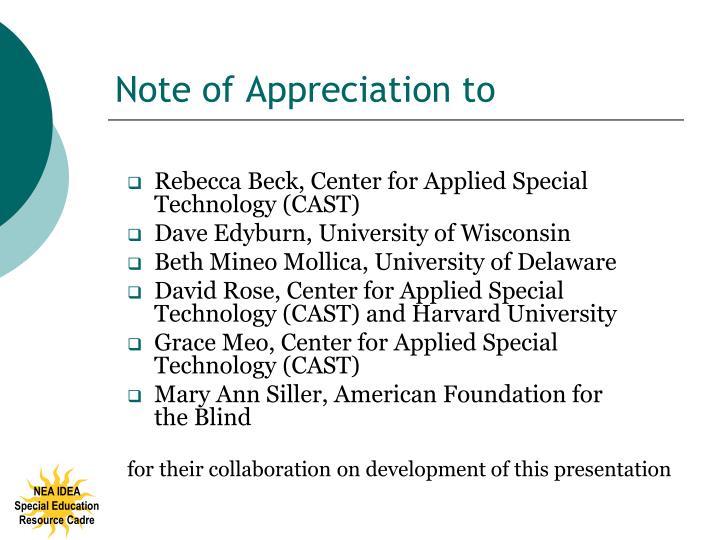 Note of appreciation to