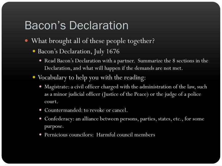 Bacon s declaration
