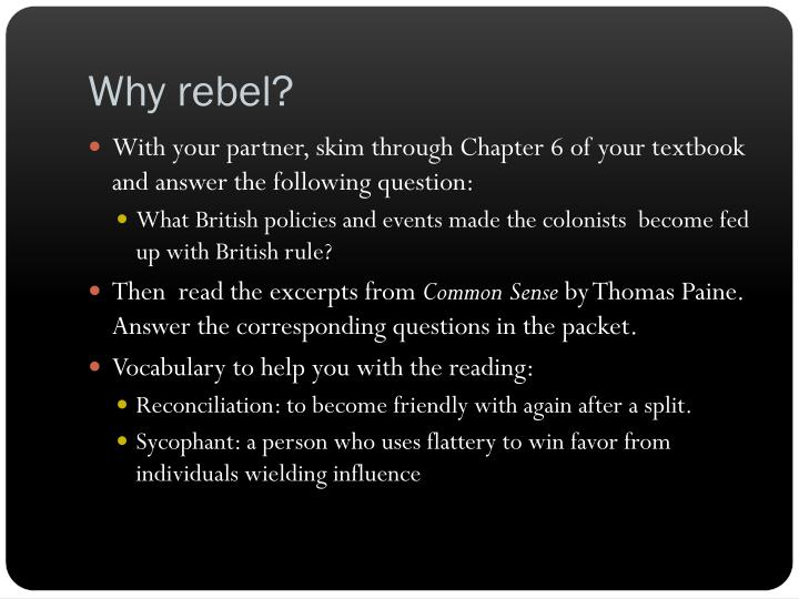 Why rebel?