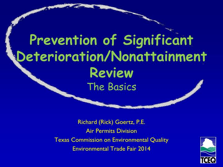 prevention of significant deterioration nonattainment review the basics n.
