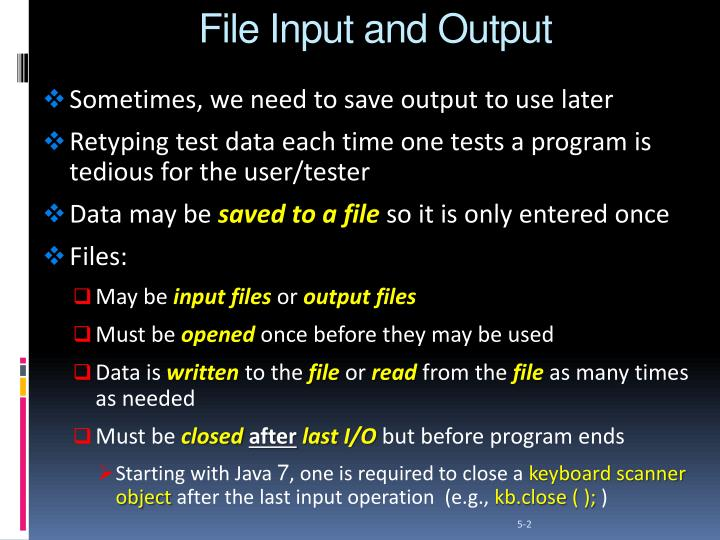 File input and output