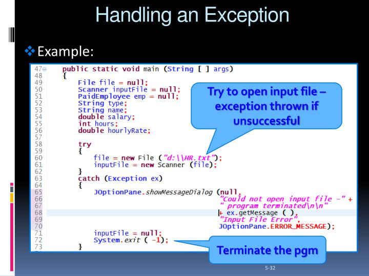 Handling an Exception