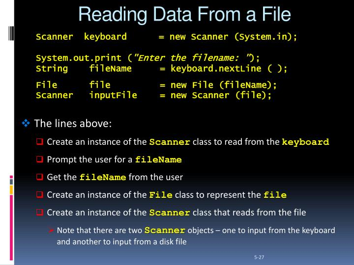Reading Data From a File