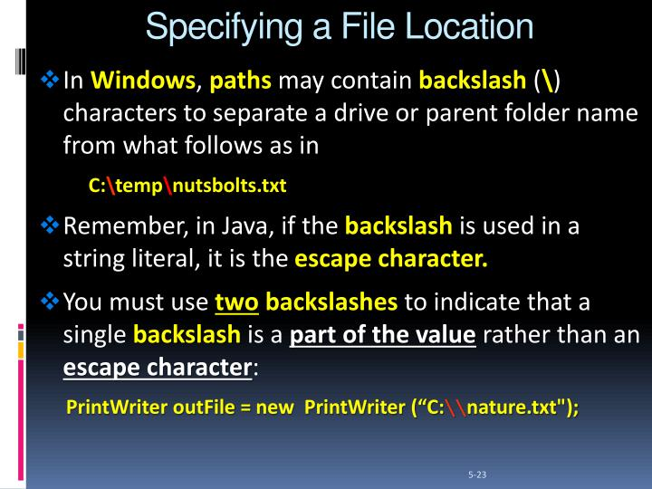 Specifying a File Location