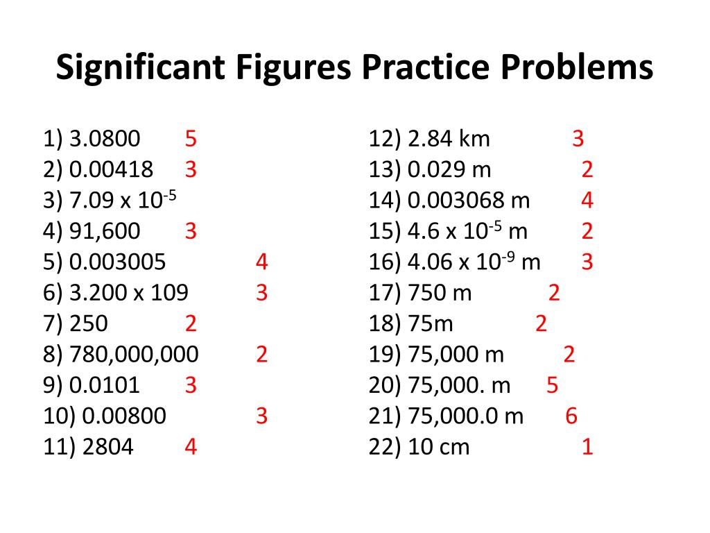 Significant Figures Practice Problems