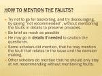 how to mention the faults