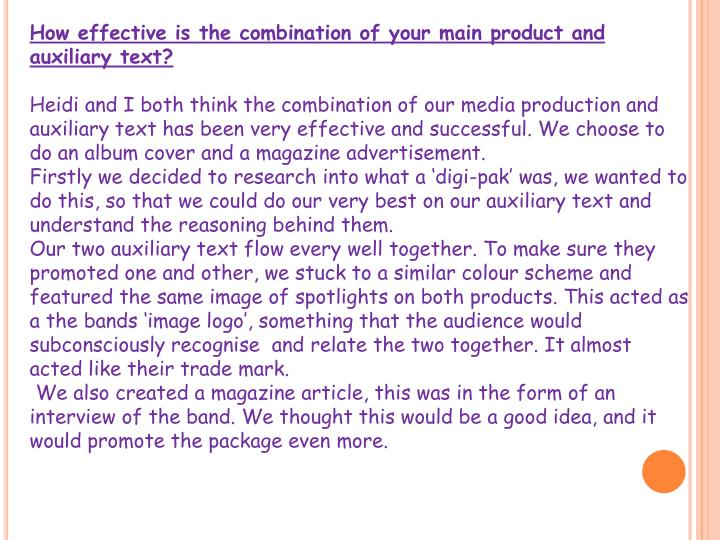 How effective is the combination of your main product and auxiliary text?