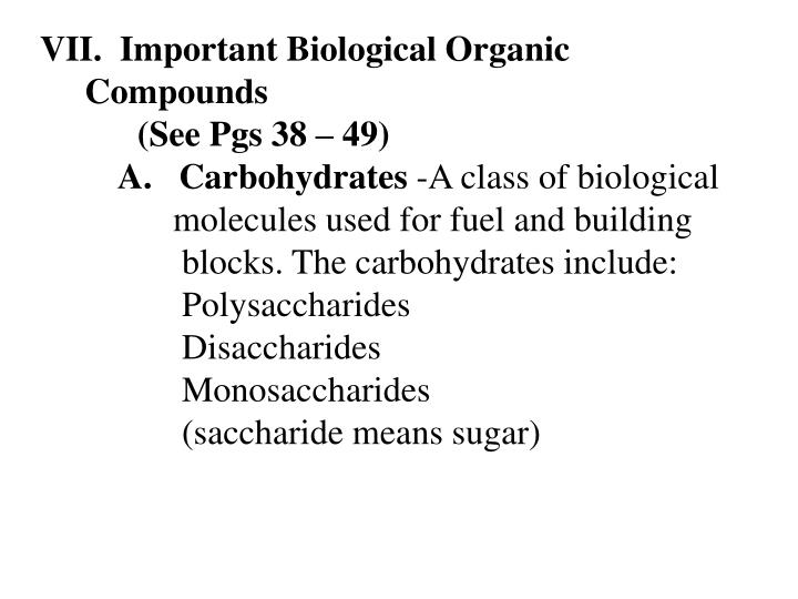 Important Biological Organic Compounds
