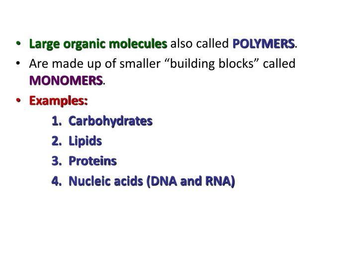 Large organic molecules