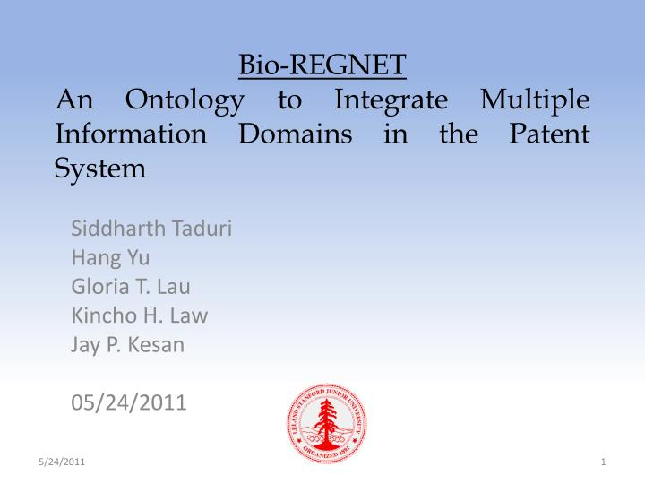 bio regnet an ontology to integrate multiple information domains in the patent system n.