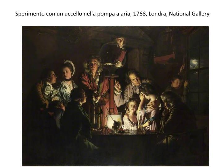 Sperimento con un uccello nella pompa a aria 1768 londra national gallery