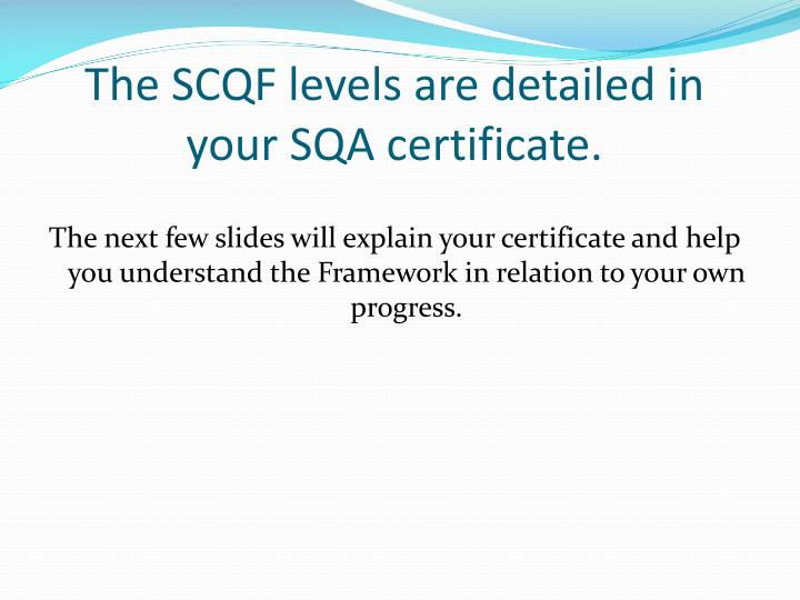The SCQF levels are detailed in your SQA certificate.