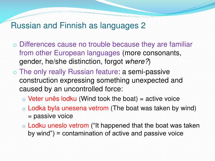 Russian and Finnish as languages 2