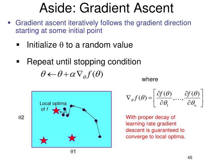 Aside: Gradient Ascent