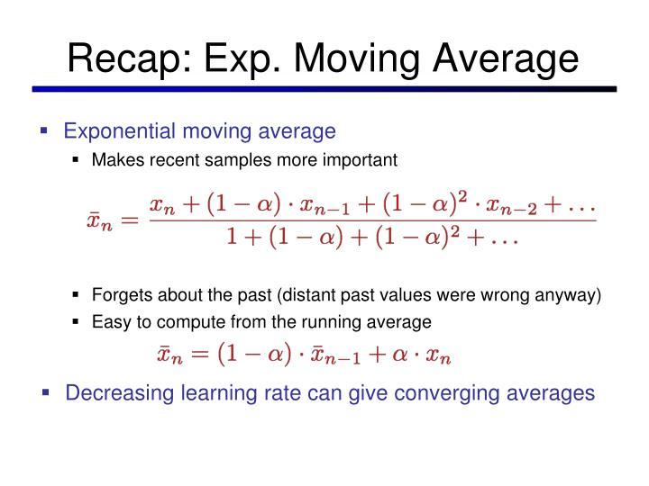 Recap: Exp. Moving Average