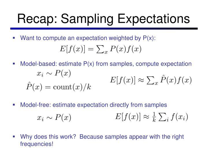 Recap: Sampling Expectations