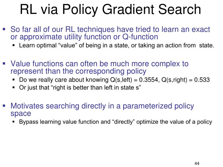 RL via Policy Gradient Search