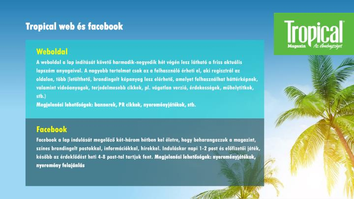 Tropical web és facebook