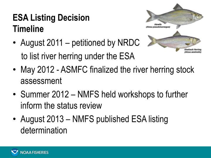 Esa listing decision timeline