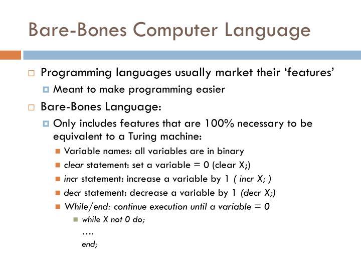 Bare-Bones Computer Language