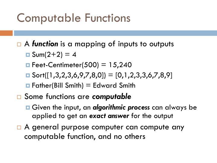Computable Functions