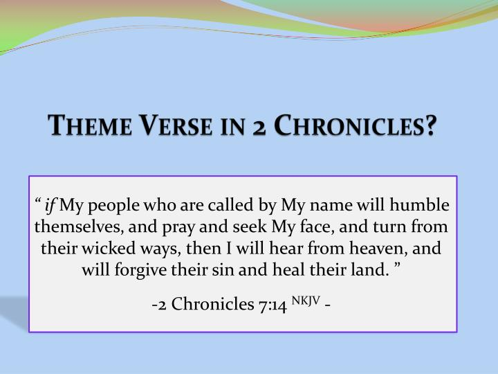 Theme Verse in 2 Chronicles?
