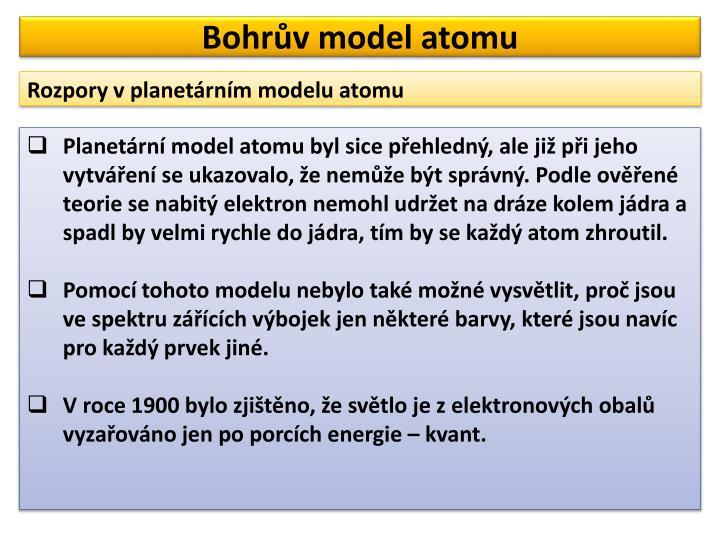 Bohr v model atomu