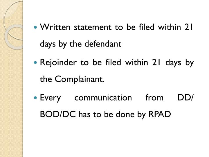 Written statement to be filed within 21 days by the defendant