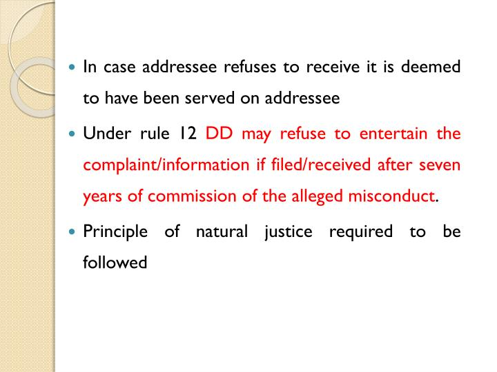 In case addressee refuses to receive it is deemed to have been served on addressee