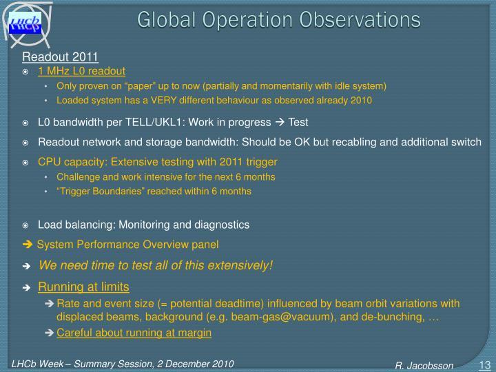 Global Operation Observations