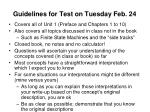 guidelines for test on tuesday feb 24