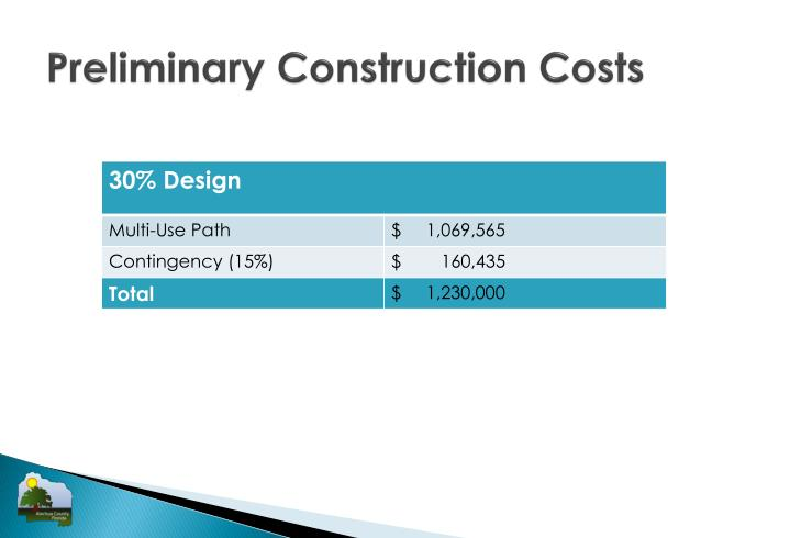 Preliminary Construction Costs
