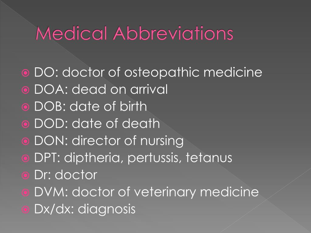 PPT - Medical Abbreviations PowerPoint Presentation - ID:2347455