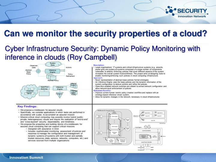 Can we monitor the security properties of a cloud?