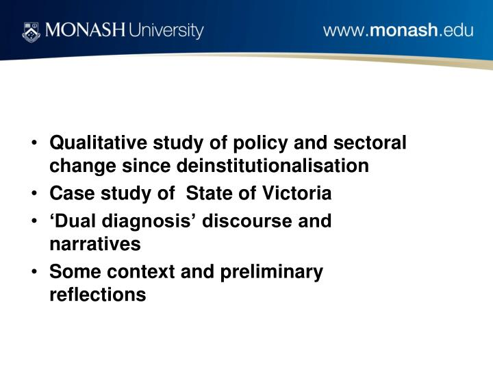 Qualitative study of policy and sectoral change since deinstitutionalisation