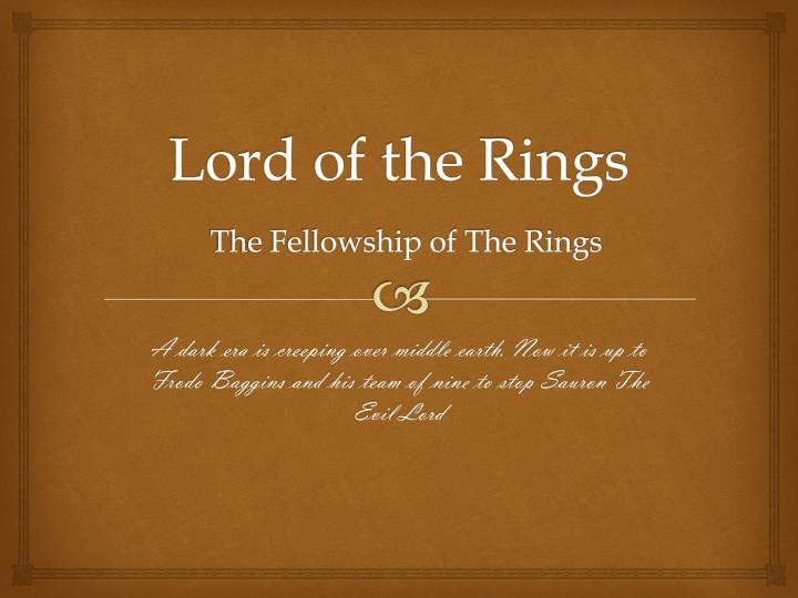 lord of the rings the fellowship of the rings n.